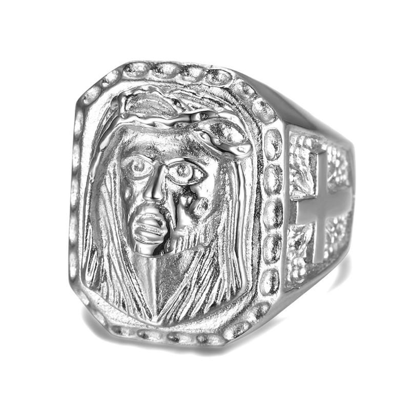 BA0342 BOBIJOO Jewelry Big Signet Ring Head Jesus Steel 316L Cross