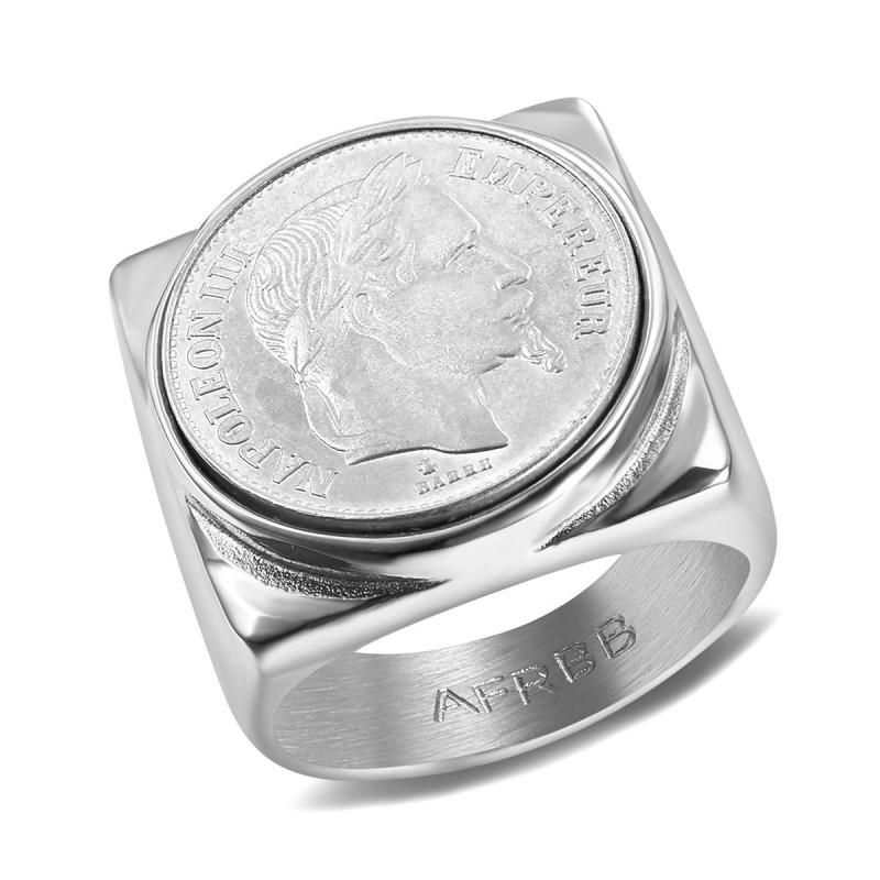 BA0343 BOBIJOO Jewelry Signet Ring stainless Steel 316L Napoleon III 20 Frs Square