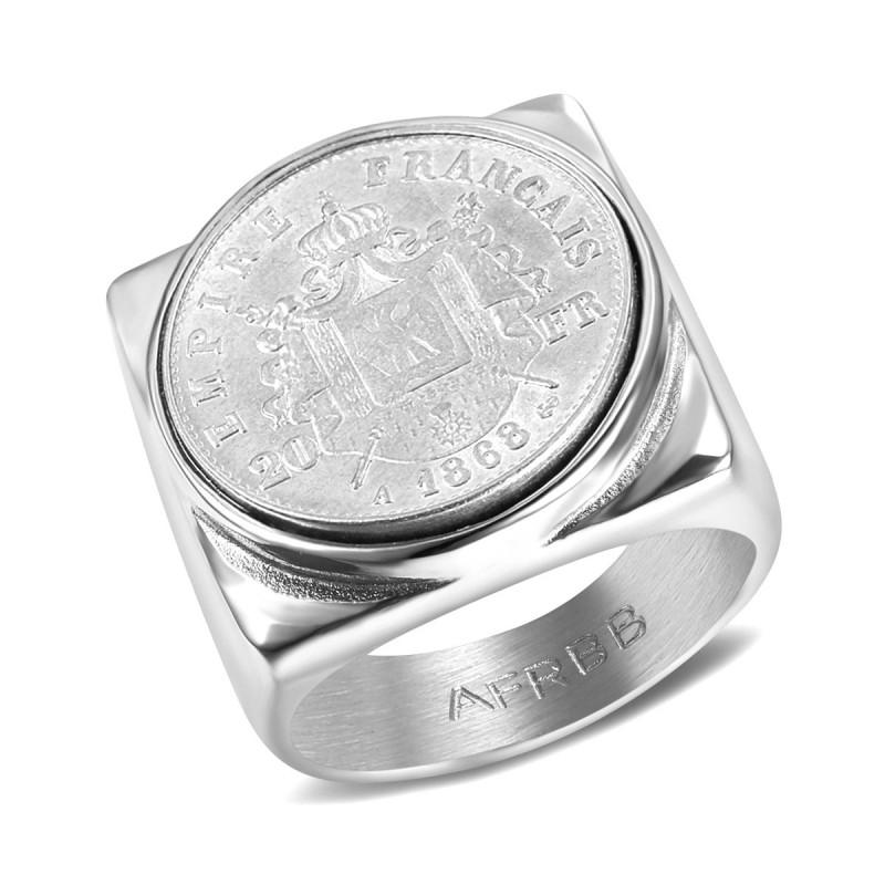 BA0344 BOBIJOO Jewelry Chevalière Bague Acier Empire Français 20 Frs Carré