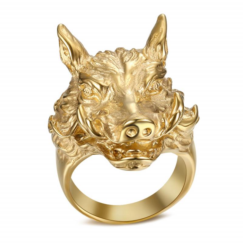 BA0345 BOBIJOO Jewelry Bague Chevalière Homme Sanglier Phacochère Or