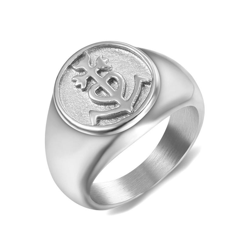 BA0347 BOBIJOO Jewelry Ring Siegelring herren damen Kreuz der Camargue Stahl