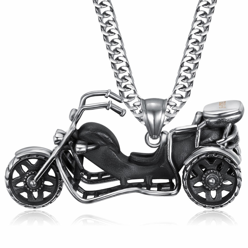 PE0219 BOBIJOO Jewelry Anhänger Halskette Triker Biker Edelstahl 316L Kette