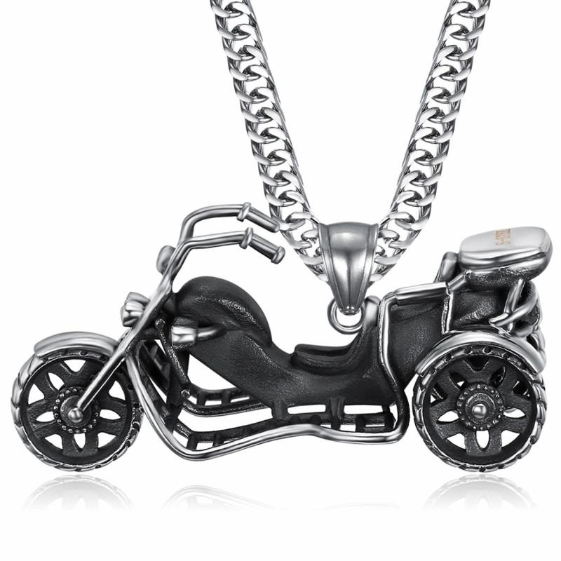 PE0219 BOBIJOO Jewelry Pendant Necklace Triker Biker 316L Steel Chain