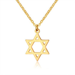 PEF0033 BOBIJOO Jewelry End Pendant Star of David + Chain Gilded Gold finish