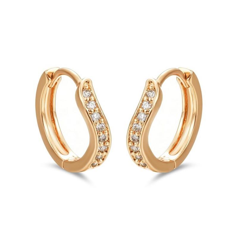BOE0011 BOBIJOO Jewelry Aretes Curva De Oro Del Niño De La Muchacha De Las Mujeres De Diamantes De Imitación