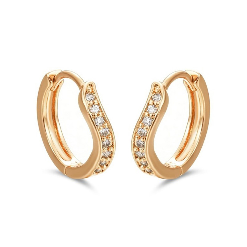 BOE0011 BOBIJOO Jewelry Earrings Curved Gold Child Girl Women Rhinestone
