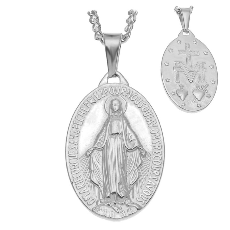 Pendentif Homme Vierge Miraculeuse Marie Acier Argenté bobijoo