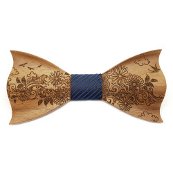 NP0057 Gaston et Ferdinand Bow tie 3D Wood Decor Floral Nature