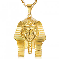 PE0138 BOBIJOO Jewelry Pendant Head of a Pharaoh Ancient Egypt-Steel Gold + Chain