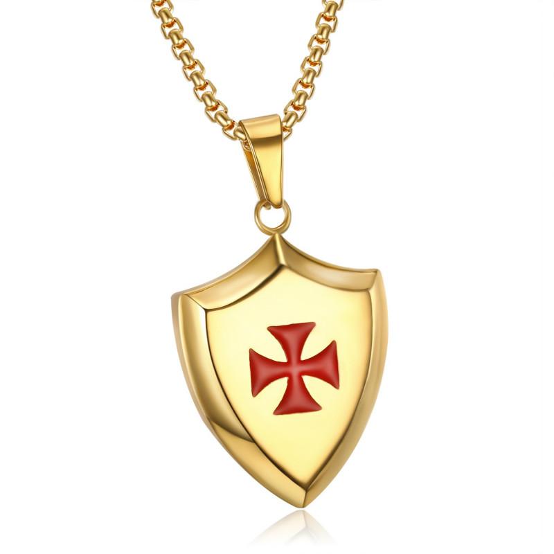 PE0222 LE BAGACIER Pendant Templar Coat Of Arms Shield Steel Gold + Chain