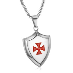 PE0223 LE BAGACIER Anhänger Templer Wappen Schild, Stahl Silber + Kette