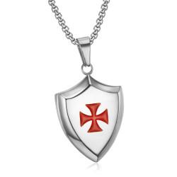 PE0223 LE BAGACIER Ciondolo Templare Stemma Scudo Argento In Acciaio + Catena