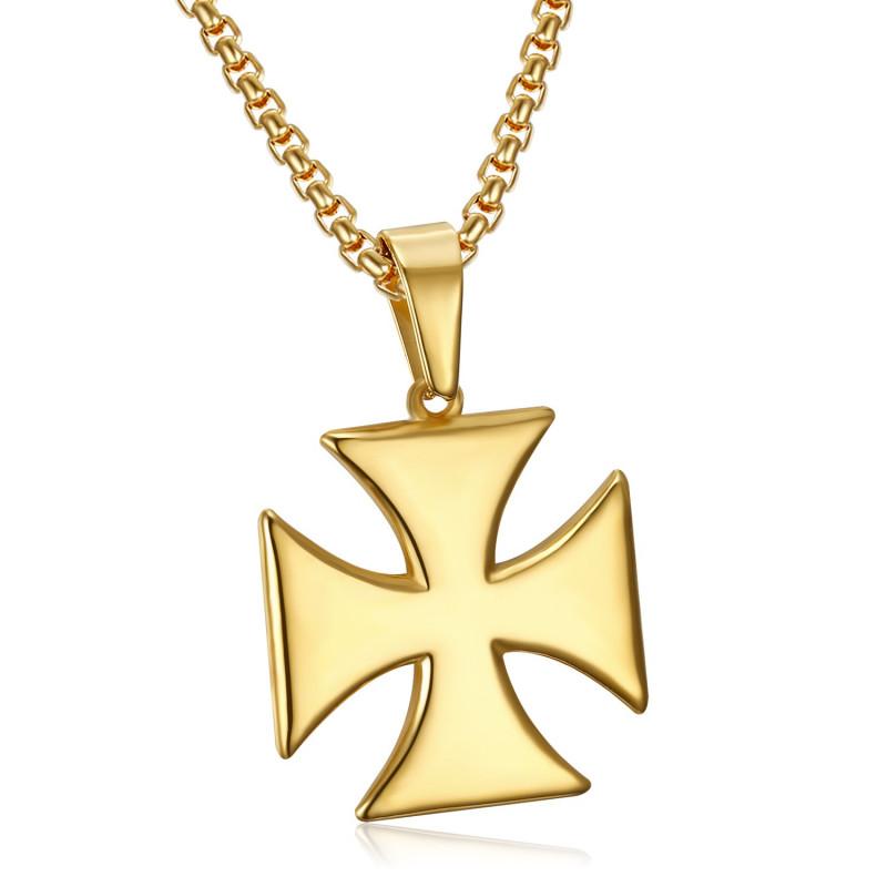 PE0224 BOBIJOO Jewelry Ciondolo Croce Templare Pattee Solare In Acciaio Inox Oro + Catena