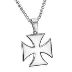 PE0225 BOBIJOO Jewelry Ciondolo Croce Templare Pattee Solare Argento + Catena