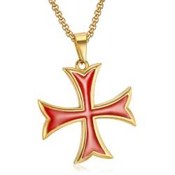 PE0226 BOBIJOO Jewelry Colgante Templario Cruz Pattée Consejos De Efectivo De Oro