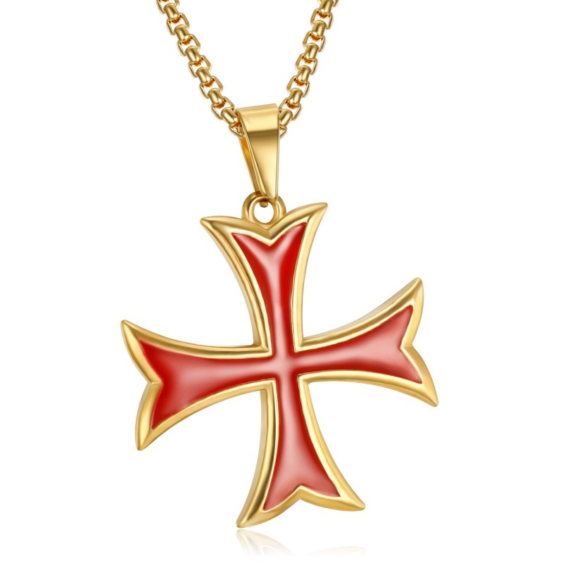 Pendentif Templier Croix Pattée Pointes Rentrées Or bobijoo