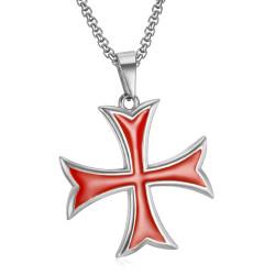 PE0227 BOBIJOO Jewelry Pendentif Templier Croix Pattée Pointes Rentrées Argent