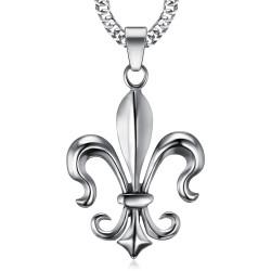PE0100 BOBIJOO Jewelry Imponente Ciondolo Fleur-de-Lys in Acciaio, Argento
