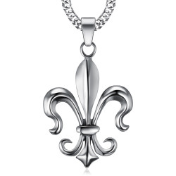 PE0100 BOBIJOO Jewelry Imposant Pendentif Fleur de Lys Acier Argenté