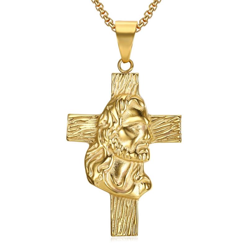 PE0232 BOBIJOO Jewelry Anhänger, Lateinisches Kreuz, Kopf Jesus Reisenden Gold Kette
