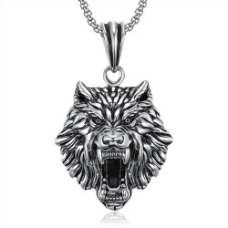 PE0233 BOBIJOO Jewelry Pendant Wolf's Head stainless Steel Silver Chain