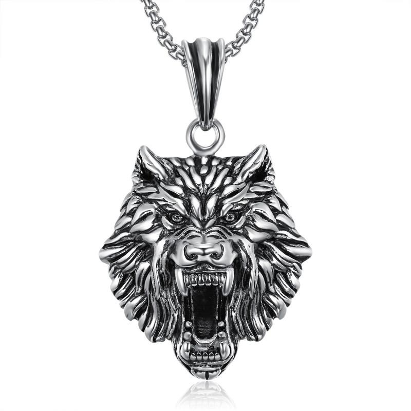 PE0233 BOBIJOO Jewelry Ciondolo Testa del Lupo in Acciaio inox Catena d'Argento