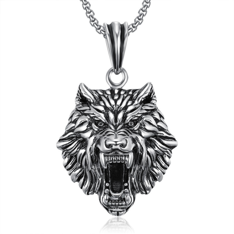 PE0233 BOBIJOO Jewelry Pendant Wolf's Head stainless Steel Silver Chain