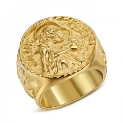BA0348 BOBIJOO Jewelry Ring Siegelring Menschen St. Josef Stahl 316L Gold