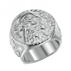 BA0349 BOBIJOO Jewelry Ring Siegelring Menschen St. Josef Stahl 316L