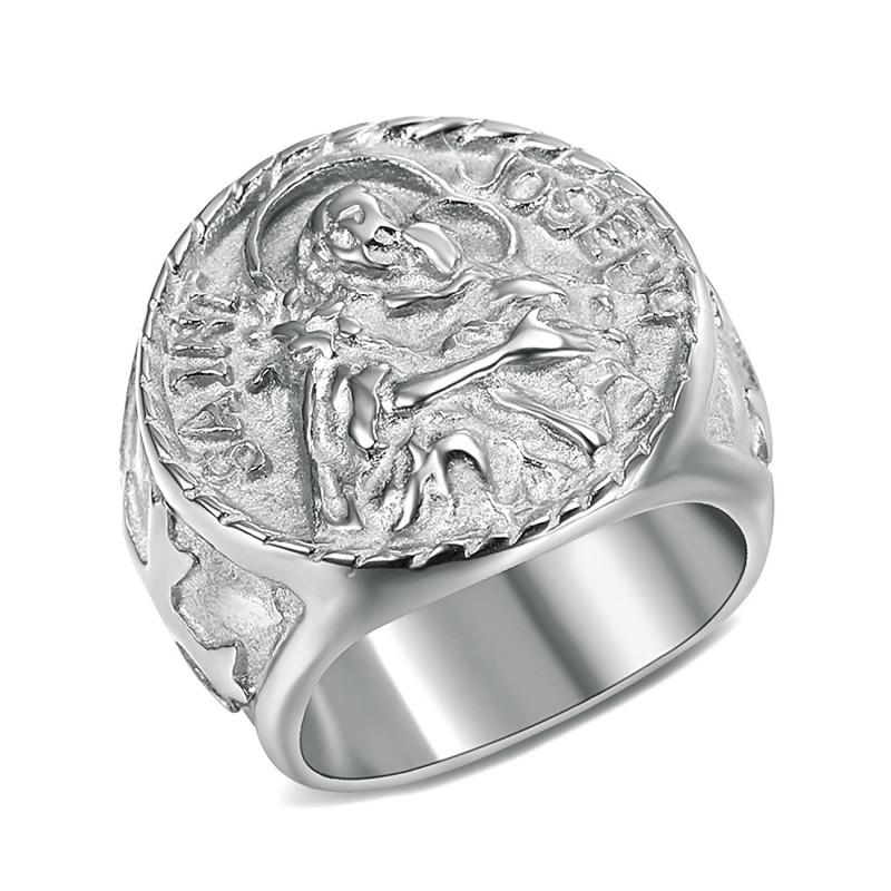 BA0349 BOBIJOO Jewelry Anello anello Uomo di San Giuseppe in Acciaio 316L