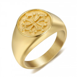 BA0350 BOBIJOO Jewelry Ring Siegelring Herren Damen Kreuz Okzitanien Stahl Gold