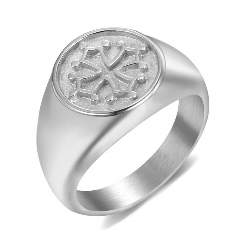 BA0351 BOBIJOO Jewelry Anello Anello Uomo Donna Croce Occitania Acciaio