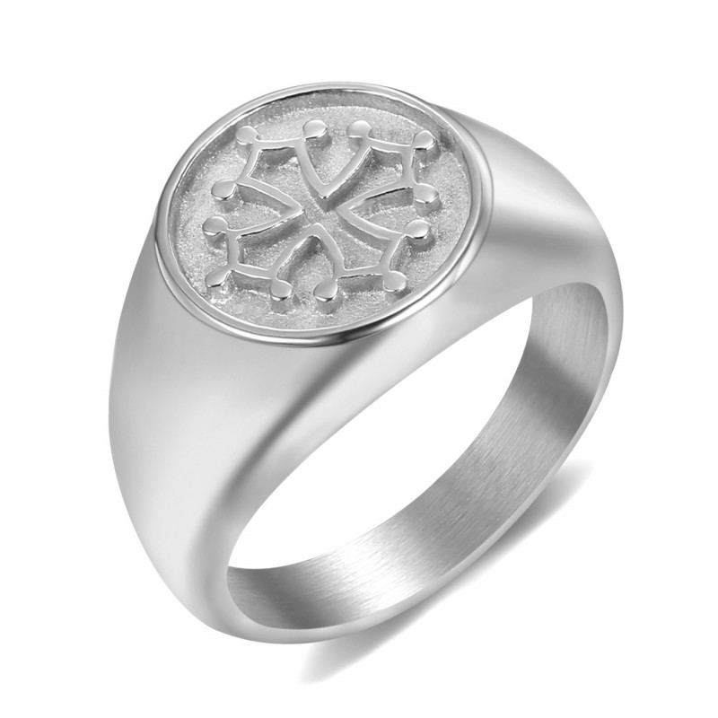BA0351 BOBIJOO Jewelry Ring Siegelring Herren Damen Kreuz Okzitanien Stahl