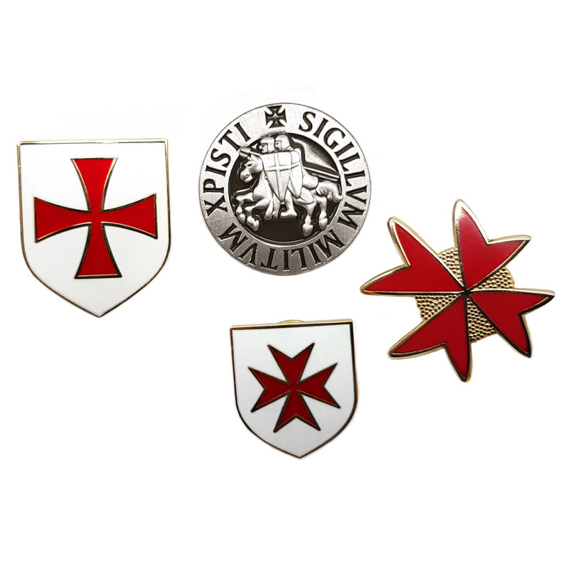 PIN0033 BOBIJOO Jewelry 4-er set anstecker, die Templer Wappen, Siegel und Kreuz