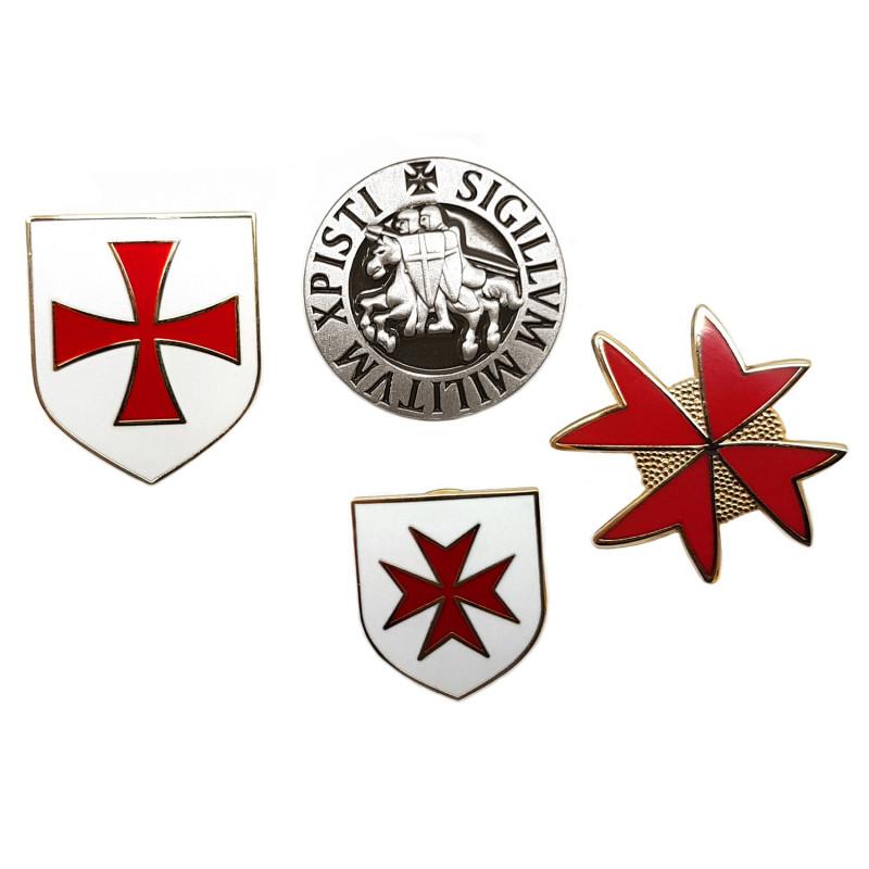 PIN0033 BOBIJOO Jewelry Lot of 4 pins knights Templar coats-of-Arms, Seal, and Cross