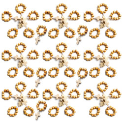 CP0049 BOBIJOO Jewelry Lot x 50 Mini Rosary Ring in Wood
