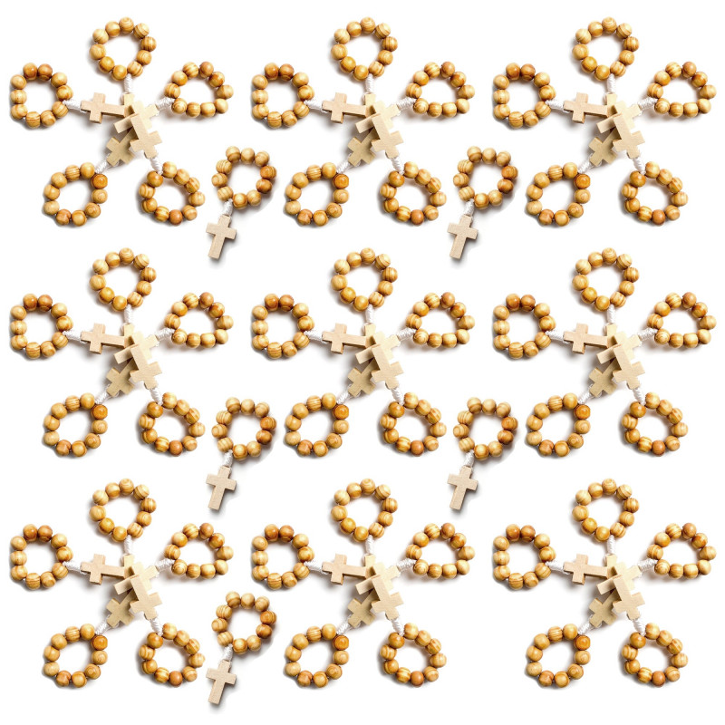 CP0049 BOBIJOO Jewelry Charge x 50 Mini Rosenkranz mit Ring aus Holz