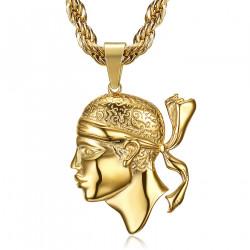 PE0234 BOBIJOO Jewelry Large Corsican Pendant Head of Moor Corsica Steel Gold