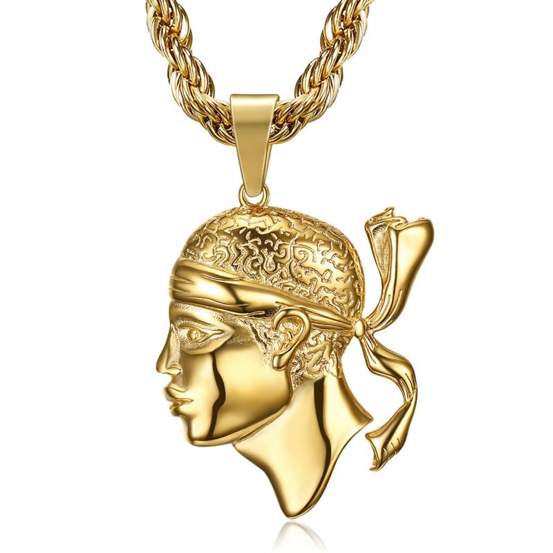 PE0234 BOBIJOO Jewelry Large Pendant in Corsican Moor's Head in Corsica stainless Steel Gold