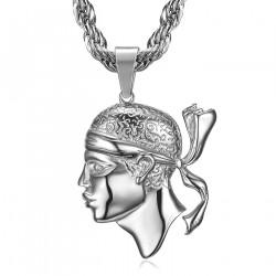 PE0235 BOBIJOO Jewelry Large Corsican Pendant Head of Moor Corsica Steel