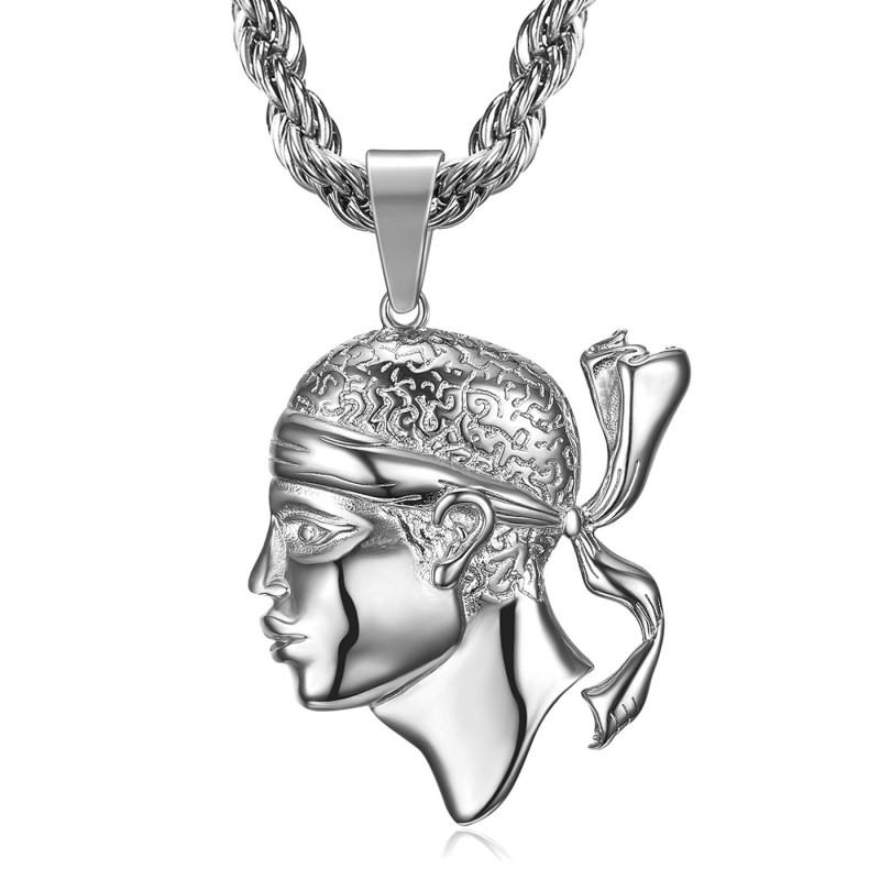 PE0235 BOBIJOO Jewelry Large Pendant in Corsican Moor's Head in Corsica Steel