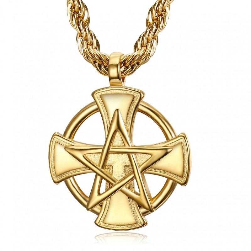 PE0236 BOBIJOO Jewelry Colgante Cruz Templaria Pentagrame Pentáculo Mason Oro