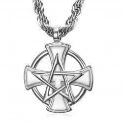 PE0237 BOBIJOO Jewelry Pendentif Templier Croix Pentagrame Pentacle Maçon
