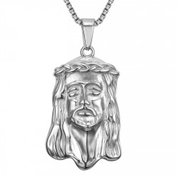 PE0129S BOBIJOO Jewelry Pendant Head of Jesus Christ 316L Steel + String