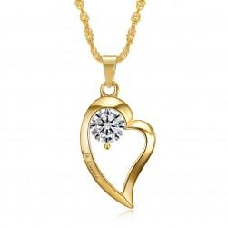 Colgante, Collar de Corazón te amo de Acero inoxidable de Diamantes de Oro