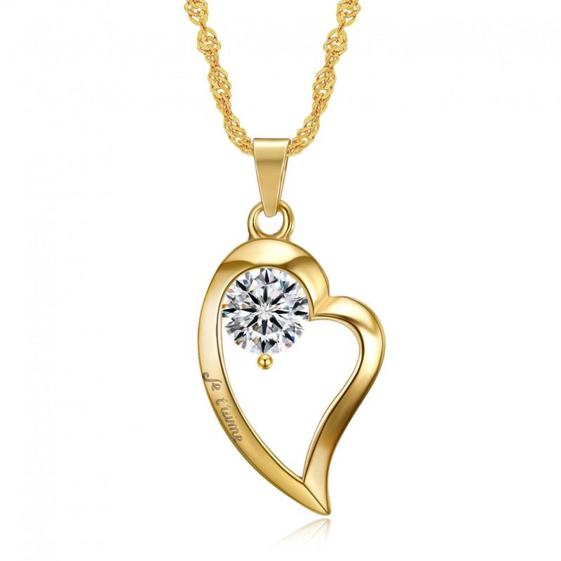 PEF0058 BOBIJOO Jewelry Colgante, Collar de Corazón te amo de Acero inoxidable de Diamantes de Oro