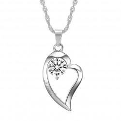 Pendentif Collier Coeur Je t'aime Acier Diamant bobijoo