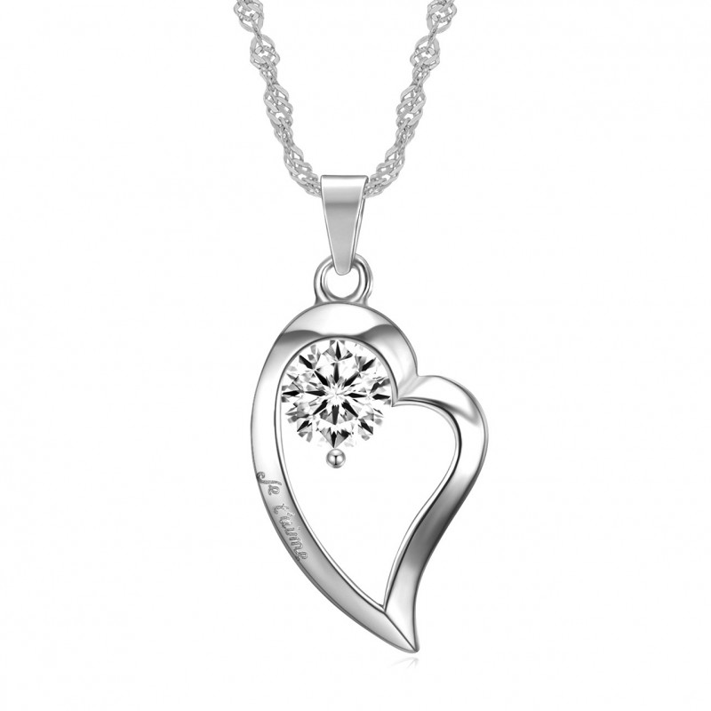 PEF0059 BOBIJOO Jewelry Pendant Necklace Heart I love you stainless Steel Diamond