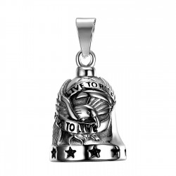 MOT0020 BOBIJOO Jewelry Bell brings good luck Motorcycle 316L Steel Ride To Live Eagle