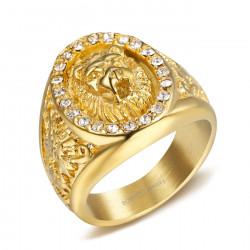 BA0352 BOBIJOO Jewelry Bague Chevalière Homme Tête de Lion Strass Zirconium